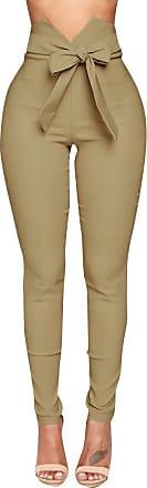JERFER jerferr Womens Summer High Waist Pants Sexy Bow Slim Simple Elastic Pants Trousers Khaki