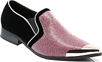 Enzo Jeans Romeo CRT Men Rhinestone Chrome Toe Suede Pointy Dress Loafer Slip On Fashion Shoes Pink Size: 8 UK