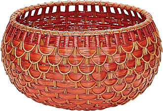 Dimond Home ELK Home Fish Scale Basket in Red and Orange