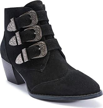 Truffle New Black Suede Margi Ladies Vegan Block Buckle Low Heel Boot[Ladies UK 8 / EU 41]