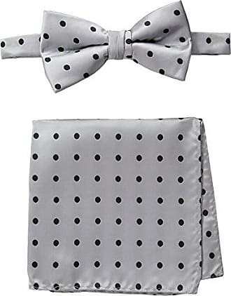 Stacy Adams Stacy Adams Mens Satin Dot Bow Tie Set, Silver, One Size