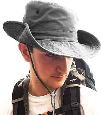 TOSKATOK UPF 50+ Unisex Safari Outback Australian Style Cotton Bush Hat with Wide Brim, Chin Strap, Side Press Studs and Air Vents-Grey