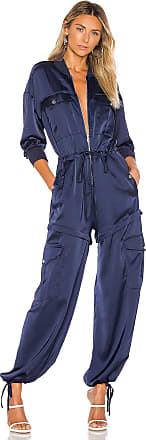 Kendall + Kylie Satin Convertible Cargo Jumpsuit in Blue