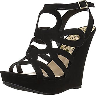 Qupid Womens Wedge Sandal, Black Suede Polyurethane, 9 M US