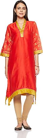 Biba Womens A-Line Kurta (Festive 12977_Orange_36)