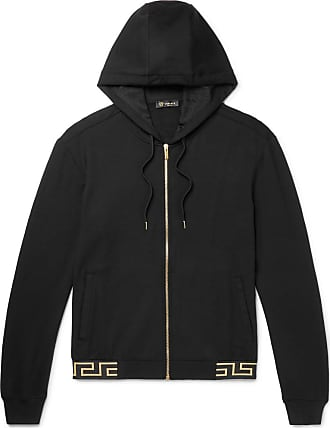 f78624ce9eb8 Versace Logo-jacquard Stretch-modal Zip-up Hoodie - Black
