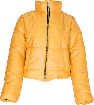 Noroze Womens Crop Jacket Padded Puffer Coat Cropped (Mustard, 14)