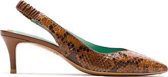 Blue Bird Shoes Slingback Python de couro - Marrom