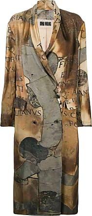 Uma Wang graphic print trench coat - NEUTRALS