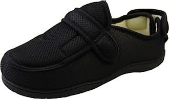 Footwear Studio Mens Womens Black Mesh Adjustable Velcro Orthopaedic Slippers, Black Mesh, 9/10 UK