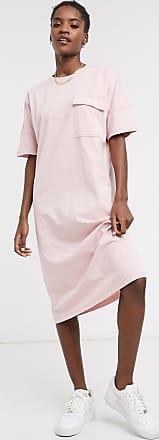 Noisy May Vestito T-shirt midi con tasca rosa confetto