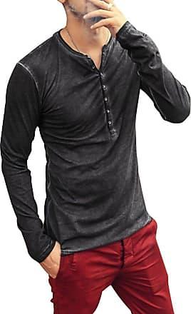 TOMWELL Mens Casual V-Neck Button Cuffs Long Sleeve T-Shirt Lightweight Grandad Neck Slim Fit Polo Shirts Beach Shirts Autumn Winter Black X-Large