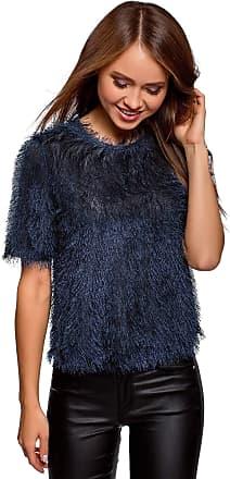 oodji Womens Fluffy Blouse with Keyhole Back, Blue, UK 14 / EU 44 / XL