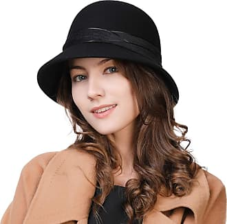 ad7601ceec39c9 Siggi Ladies 1920s Vintage Cloche Bowler Derby Hat Black Wool Stylish Winter  Bucket Church Party Wedding