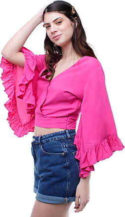 Pop Me Blusa Cropped Mangas Flare 7/8 Pop Me-pink-p