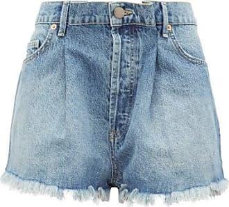 Raey Fold Raw-hem Denim Shorts - Womens - Light Blue