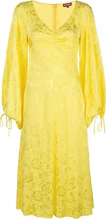 Staud Vestido midi amarelo com detalhes bordados
