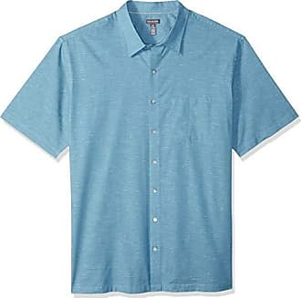 Van Heusen Mens Big and Tall Air Short Sleeve Button Down Solid Shirt, Turquoise Storm Blue, 2X-Large Tall