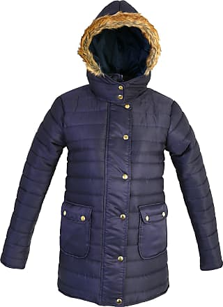 Parsa Fashions Ladies Quilted Padded Puffer Jacket Fur Hooded Zipper Buttons Bubble Warm Thick Womens Winter Jacket Coat (XL, Navy)