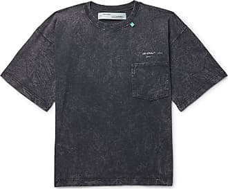 Off-white Acid-washed Cotton-jersey T-shirt - Charcoal