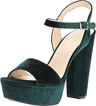 Nine West Womens Carnation Heeled Sandal, Dark Green Fabric, 10 M US