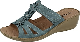 Cushion-Walk Ladies Faux Leather Laser Cut Diamante Foot Strap T Bar Peep Toe Slip On Low Wedge Backless Mules Summer Sandals Size 3-8 (Light Blue, Numeric_5)