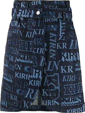 Kirin Saia cintura alta com logo - Azul