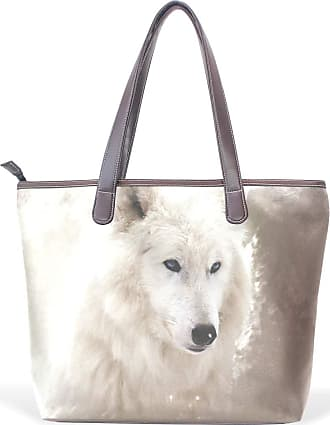 NaiiaN Purse Shopping Shoulder Bags Tote Bag for Women Girls Ladies Student Light Weight Strap Leather White Wolf Animal Handbags Chiefs
