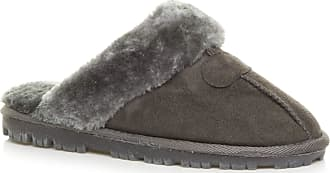 Ajvani Womens Ladies Flat Low Heel Winter Fur Lined Luxury Mules Slippers Size 8 41, Grey Grey Fur, 8 UK