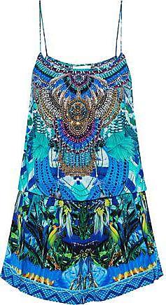 acdabff17b Camilla Camilla Woman Masking Madness Embellished Printed Silk Playsuit  Turquoise Size XL
