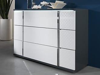 Venta-Unica.com Cómoda CONSCIENCE - 3 cajones - Con LEDs - Lacado blanco y gris