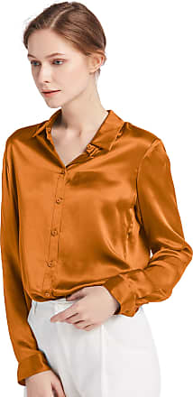 LilySilk Womens 100 Charmeuse Silk Blouse for Lady Long Sleeve Top 22 Momme Pure Silk (XL/18, Caramel)