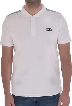 Lambretta Scooter Badge Polo Shirt Mens MOD Tipped Shoulder Tops UK S-4XL (UK Medium, White)