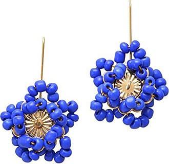 Tinna Jewelry Brinco Dourado Flor Estrela Miçanga (Azul)