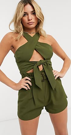4th & Reckless tie front cut out crop top in khaki-Green
