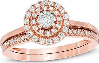 Zales 1/4 CT. T.w. Diamond Double Frame Bridal Set in 10K Rose Gold
