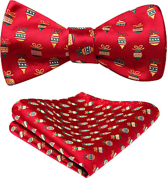 Hisdern Mens Christmas Bowtie Gift Woven Party Self Bow Tie Pocket Square Set