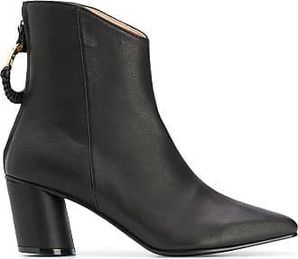Reike Nen Ankle boot preta de couro com salto bloco - Preto