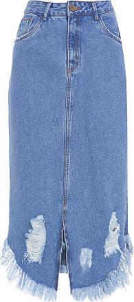 Cantão Saia Jeans Raw - Azul
