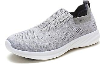 Dream Pairs Womens Slip On Trainers Mesh Lightweight Casual Walking Nursing Shoes 171114-W Light Grey White Size 7.5 US / 5.5 UK