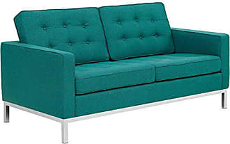 ModWay Modway Loft Upholstered Fabric Mid-Century Modern Loveseat In Teal