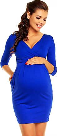 Zeta Ville Womens Maternity Wrap Nursing V-Neck Dress Pockets UK 8-20 - 236c (Royal Blue, UK 18, XXXL)