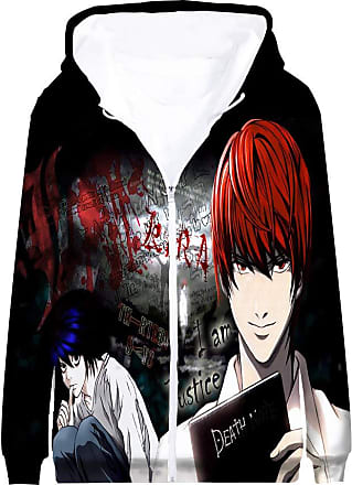 Haililais Death Note Pullover Coat Long Sleeve Printed Hooded Outerwear with Zipper Anime Popular 3D Parent-Child wear Unisex (Color : A04, Size : 180)