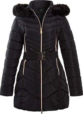 NEW PARKA Womens CANVAS Ladies JACKET COAT PADDED Size 8 10 12 14 16 Black