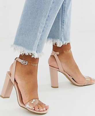 New Look heeled sandals with clear detail in beige-Tan