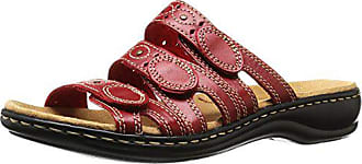Clarks Womens Leisa Cacti Q Flat Sandals, Red Leather, 8.5 M