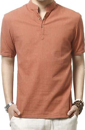 Insun Mens Casual Solid Summer Short Sleeve Linen Blend Henley Shirt Orange