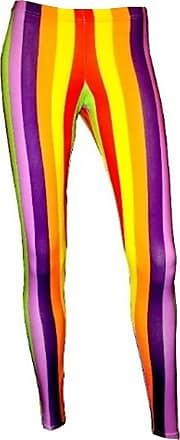 Insanity Vertical Stripes Printed Leggings (S/M, Rainbow/Multi)