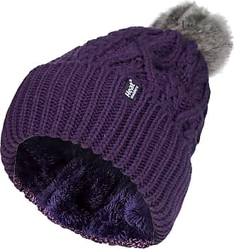 Heat Holders Ladies Chunky Ribbed Cuffed Thermal Winter Pom Pom Bobble Beanie Hat with Fleece Lining (One Size, Purple (Solna))