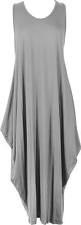 Islander Fashions Womens Sleeveless Parachute Loose Romper Ladies Fancy Lagenlook Long Baggy Dress Silver Grey X Large UK 16-18